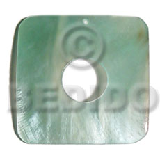 Native 40mmx40mm square aqua hammershell shell pendants