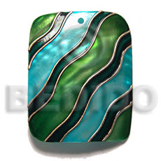 Wholesale handpainted and colored rectangle 50mmx40mm shell pendants