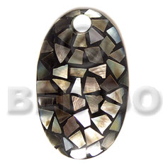 Teens dome oval 70mmx42mm laminated blacklip shell pendants