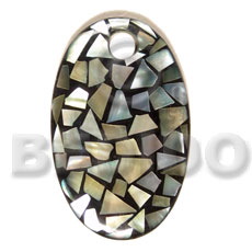 Native dome oval 70mmx42mm laminated blacklip shell pendants