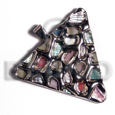 Teens triangle 50mm glistening abalone in shell pendants