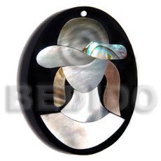 Fashion 50mmx38mm oval pendant elegant hat shell pendants