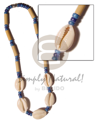 Ladies cut sigay shell bamboo sigay necklace