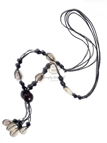 Native 4 rows black wax cord sigay necklace
