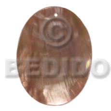 Native 40mmx30mm brownlip oval simple cuts pendants