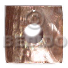 Natural 40mm square brownlip 15mm simple cuts pendants