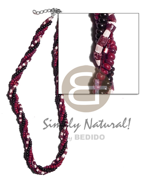 Wholesale twisted 4 rows-2-3mm coco heishe surfer necklace