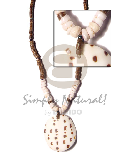 Cebu 4-5 coco heishe brown rainbow beads surfer necklace