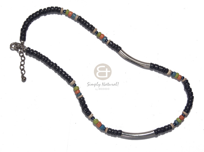 Teens 4-5mm coco black pokalet surfer necklace