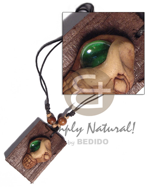 Ladies clay skull on 60mmx40mm surfer necklace