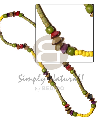 Ethnic yellow green 2-3 coco pokalet surfer necklace