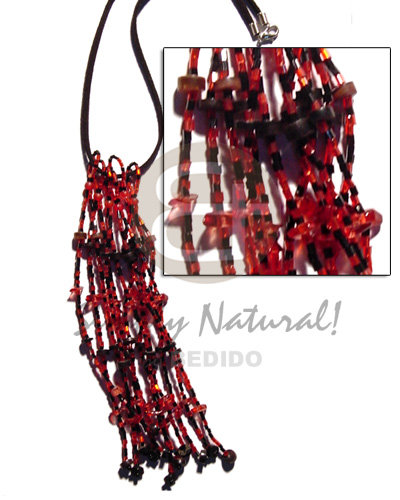 Philippine coco blacklip heishe tassles tassled necklace