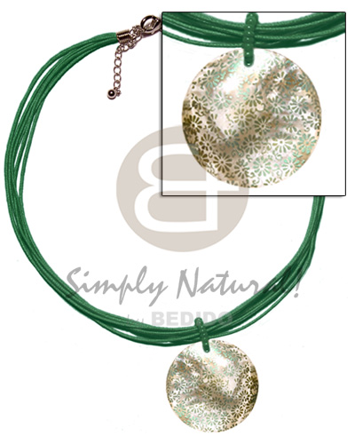 Native 6 layer green wax cord teens necklace