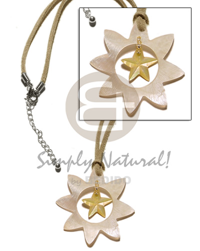 Unisex 40mm star hammershell dangling teens necklace