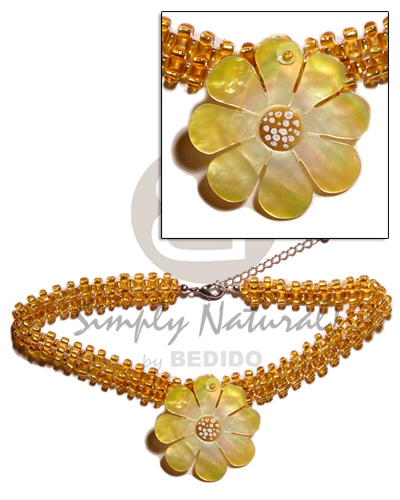 Philippine yellow gold glass beads flat teens necklace