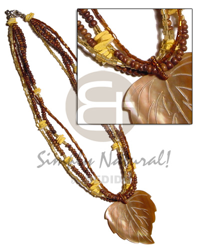 Natural 4 layers 2-3mm coco pokalet. teens necklace