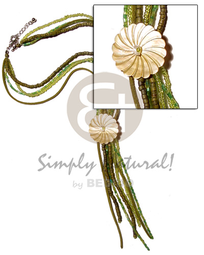 Teens 4 layer green tones tassled teens necklace