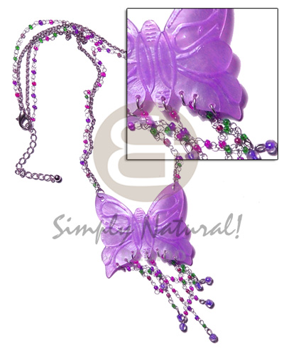 Philippines tassled lavender 50mm butterfly hammershell teens necklace
