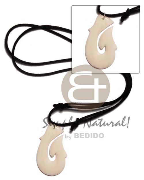Natural 40mm celtic white carabao bone teens necklace