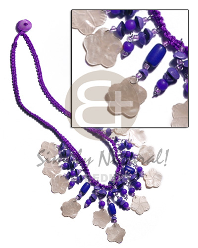 Philippines violet macrame dangling 15mm teens necklace