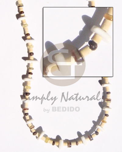 Ethnic 2-3 coco pukalet natural brown teens necklace