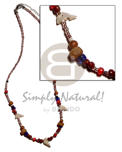 Fashion glass wood horn combination teens necklace