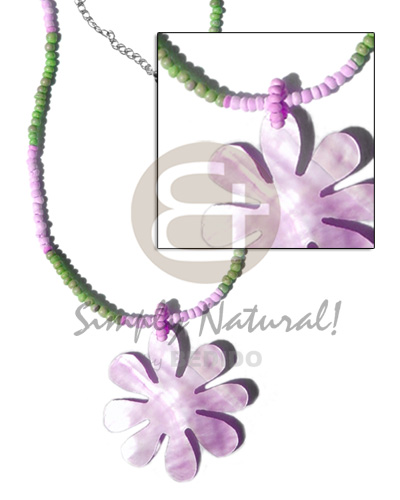 Ladies 2-3mm green lilac coco pokalet teens necklace