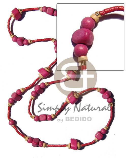 Teens pink wood beads in 2-3mm teens necklace