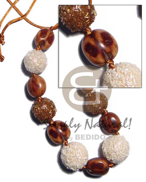 Philippines 20mm 25mm round wrapped wood beads teens necklace