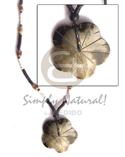 Native black lip scallop pendant 2-3 heishe teens necklace