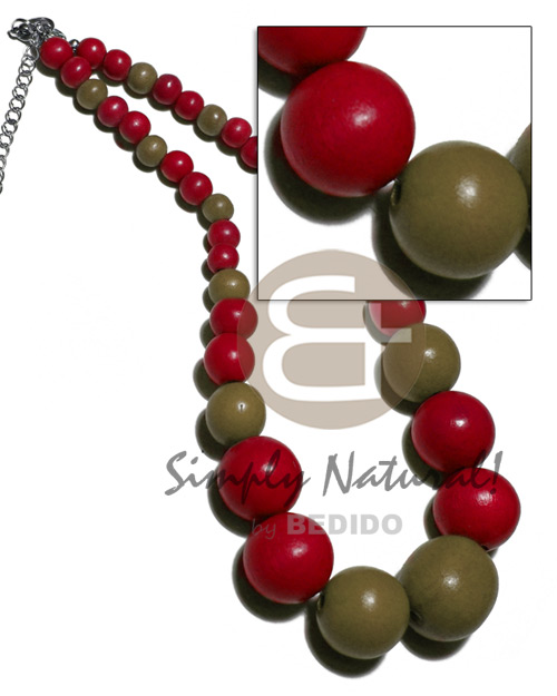 Unisex graduated wood beads 25mm 20mm 15mm 10mm 8mm teens necklace