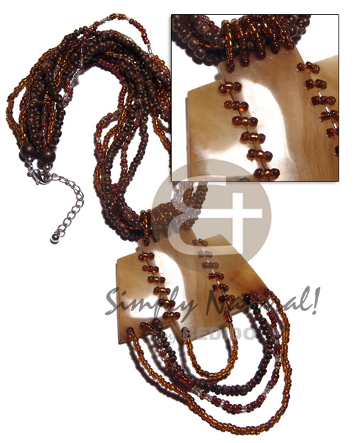 Unisex 6 rows 2-3mm coco pokalet teens necklace