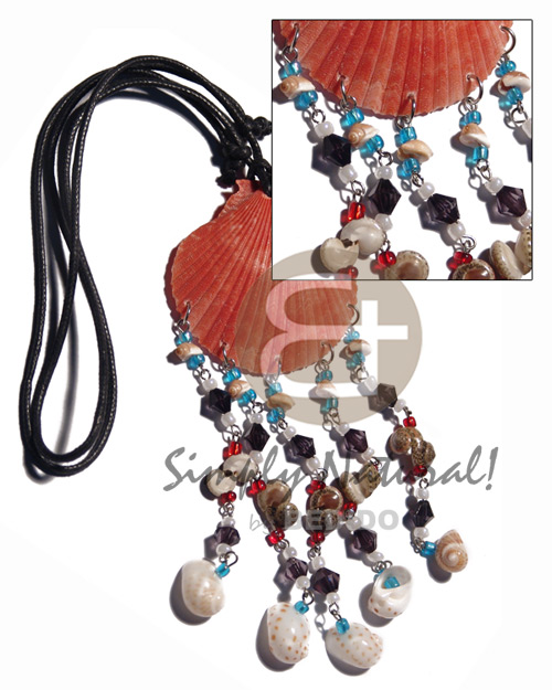 Unisex red limpet shell dangling teens necklace