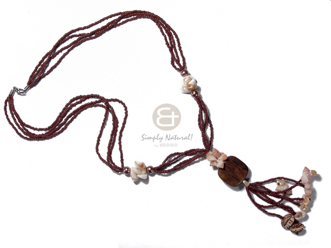 Teens 4 layers tassled brown glass teens necklace