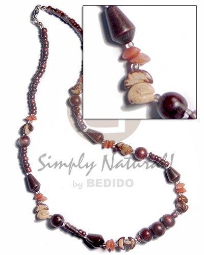 Philippines 4-5mm coco pokalet wood teens necklace