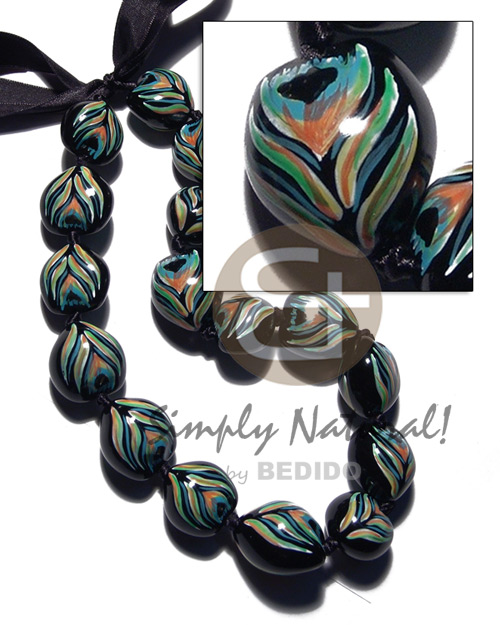Philippine kukui seeds in animal print teens necklace