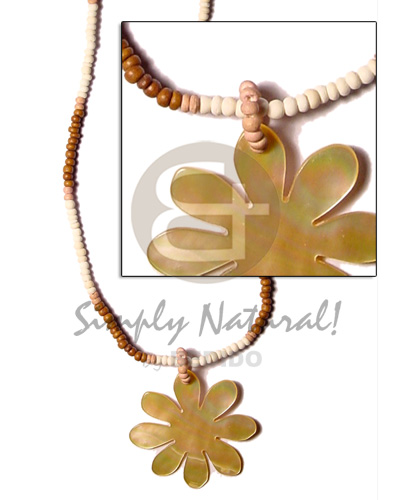 Unisex 2-3 coco pokalet bleach tan dyed brown teens necklace