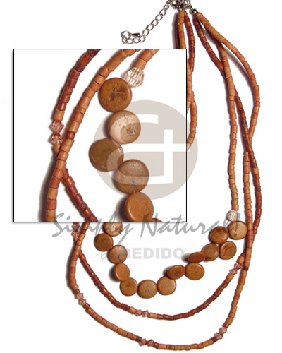 Handmade 3 rows graduated tan 2-3mm teens necklace