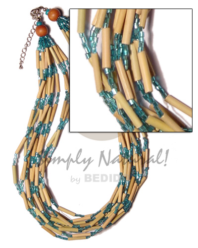 Native 12 layer bamboo tube teens necklace
