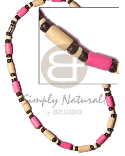 Cebu bleach pink wood tube 4-5mm teens necklace