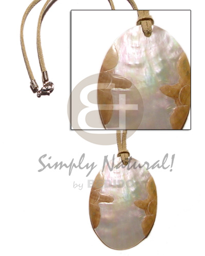 Native leather thong oval mop teens necklace