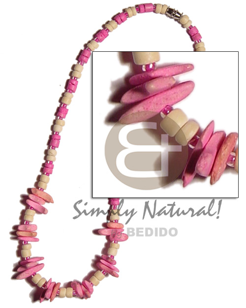 Ladies pink bleach white 4-5mm coco pokalet. teens necklace