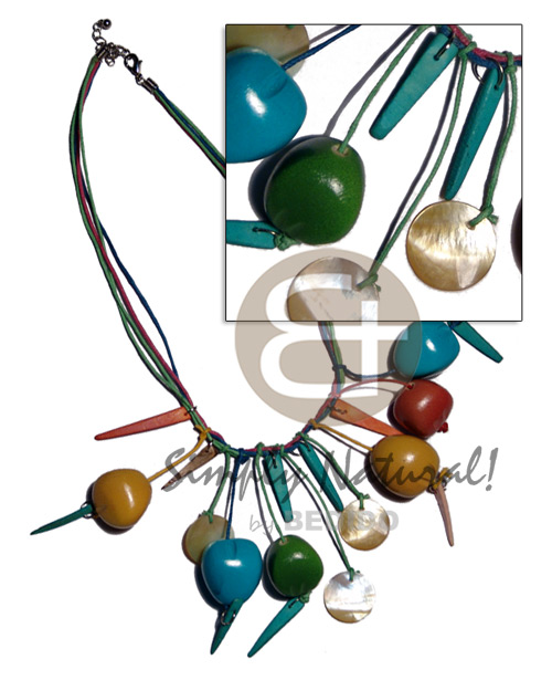 Native bora bora necklace- dangling colored tribal necklace