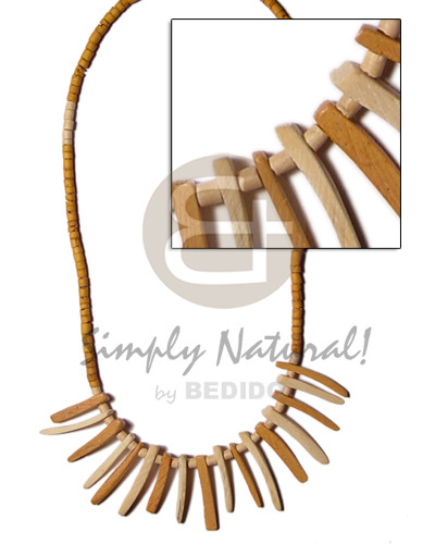 Fashion 2-3mm tan coco heishe bleach tribal necklace
