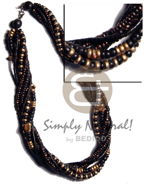 Handmade 6 layers - 2-3mm black twisted necklace
