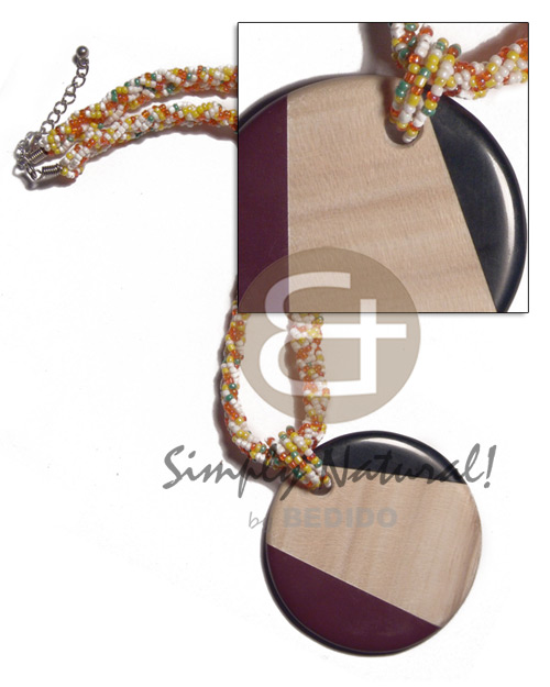 Wholesale round 60mm patched ambabawod wood twisted necklace
