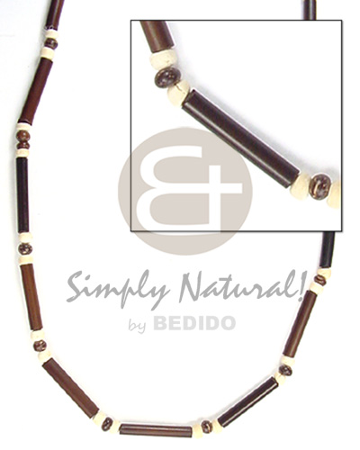 Wholesale 2-3mm dark brwn bamboo tube 2-3mm unisex necklace