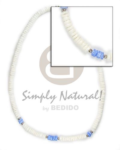 Handmade 4-5mm wht shell with blue unisex necklace