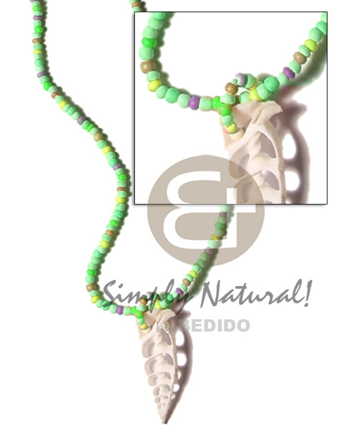 Ladies lime green tones 2-3mm coco unisex necklace