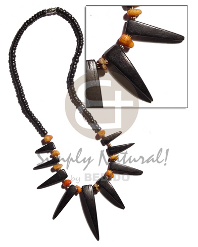 Philippines 4-5mm black coco pokalet. unisex necklace